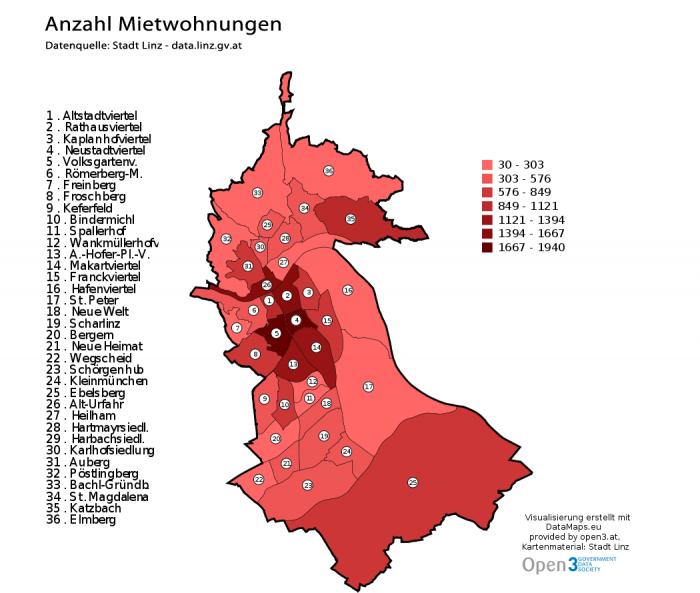Vorschau Visualisierungen auf Basis der Wohnungsdaten