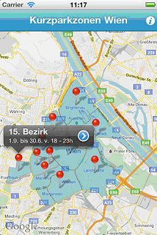 Vorschau Kurzparkzonen Wien – iPhone App