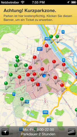 Vorschau Parken Wien – Kurzparkzonen Wien mit SMS Parkticket