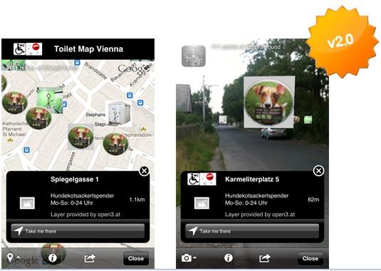 Vorschau Toilet Map Vienna – Augmented Reality App