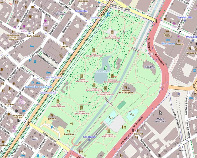 Vorschau Import Baumkataster Wien in Open Street Map