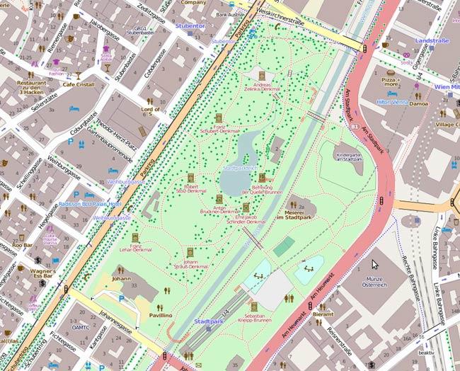Vorschau Import Baumkataster Wien in Open Street Map