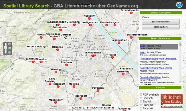 Vorschau Geografische Suche im Online-Katalog der GBA