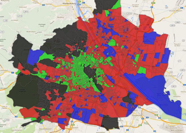 Vorschau Wahlsprengel-Karte Wien zur EU-Wahl 2014