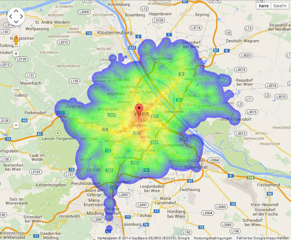 karte wien Isochrone Karte Wien | data.gv.at