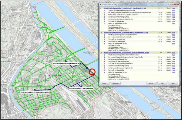 Vorschau Netzwerkanalyse im 20. Wiener Gemeindebezirk: Polizeistandorte und der Weg zu potentiellen Unfallorten