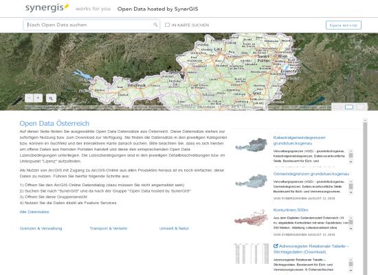 Vorschau Open Data hosted by SynerGIS