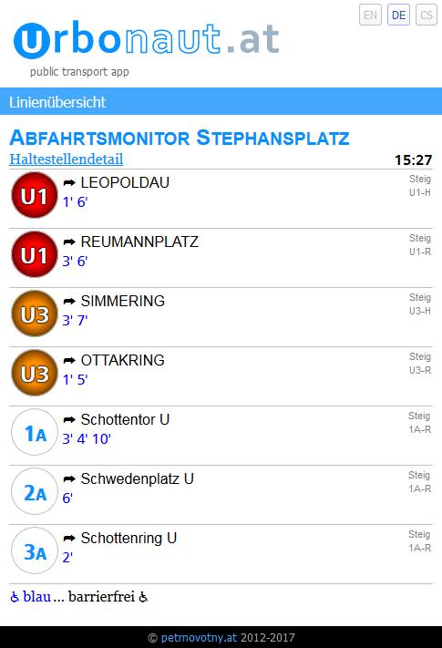 Vorschau Wiener Öffi App mit Abfahrtsmonitor