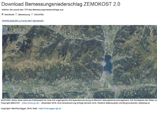 Vorschau Download Bemessungsniederschlag ZEMOKOST 2.0