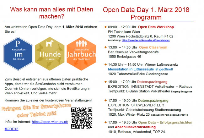 Programm zum Open Data Day 1. März 2018