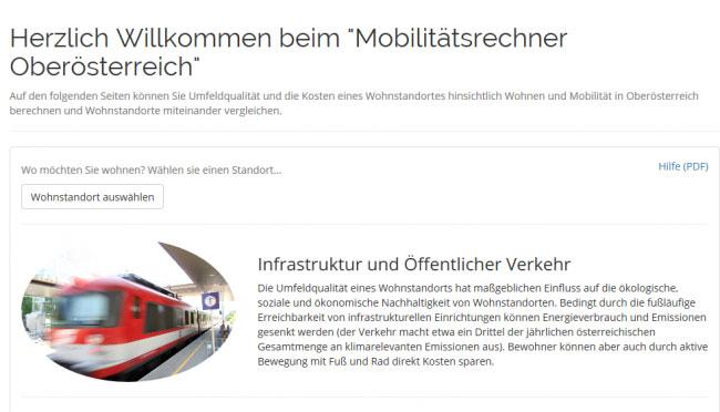 Vorschau Mobilitätsrechner Oberösterreich