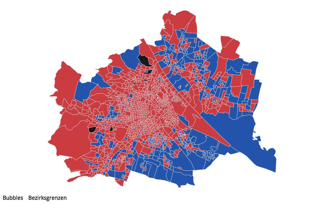 Vorschau Wahlsprengelkarte zur Wahlergebnissen auf Gemeinde- und Sprengelebene