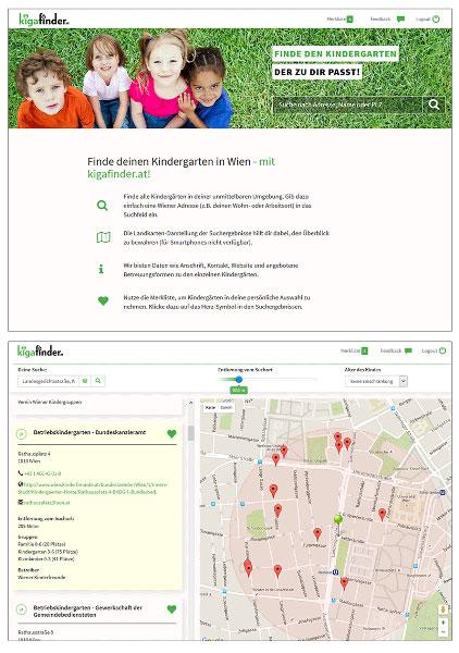 Vorschau kigafinder.at – Die Kindergartensuche für Wien