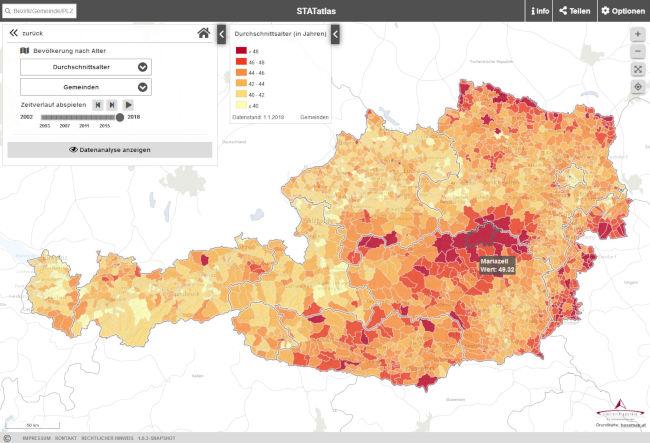 Vorschau STATatlas – interaktiver online Atlas von Statistik Austria