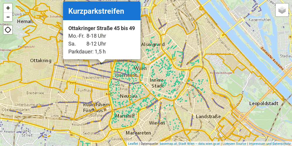 Vorschau Kurzparkzonen Wien