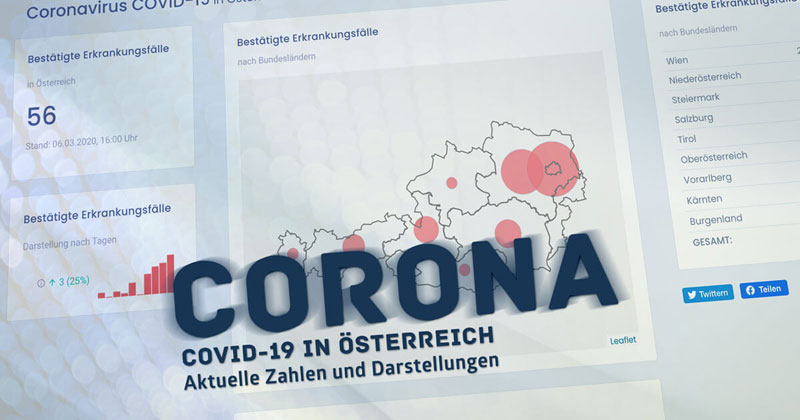 Vorschau Coronavirus COVID-19 Fälle in Österreich