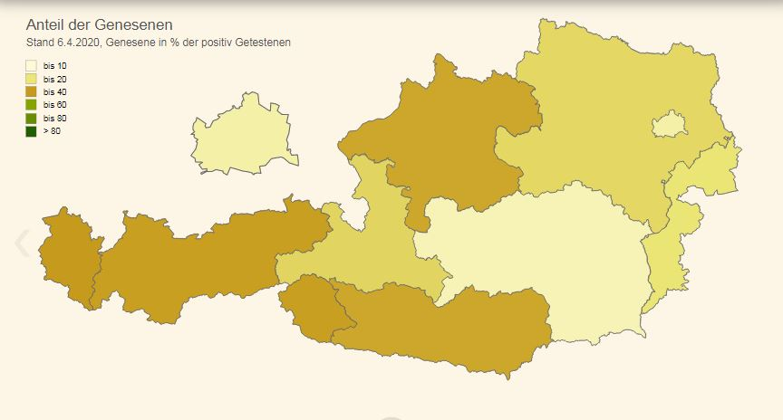 Vorschau COVID-19: Bezirke und Länder mit Zeitreihe und Min/Max