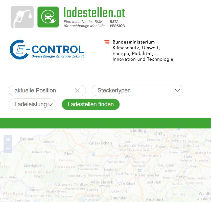 Vorschau E-Control Ladestellenverzeichnis