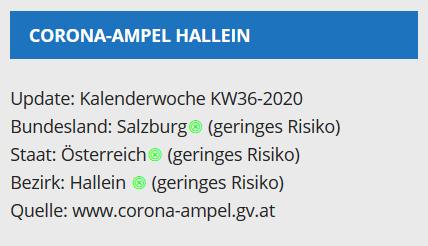 Vorschau Website-Widget des Corona-Ampel-Status für Hallein