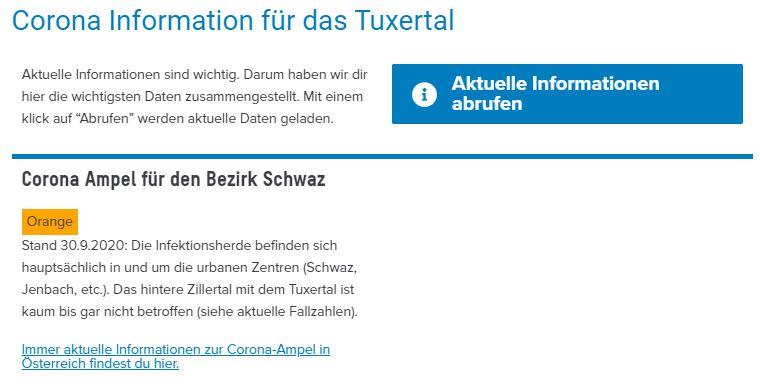 Vorschau Corona Information Bezirk Schwaz