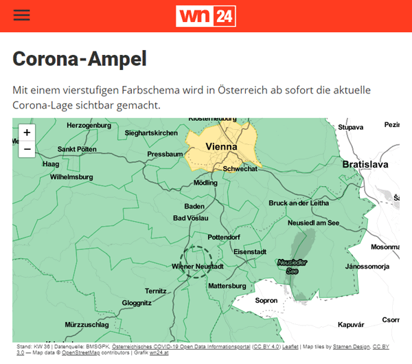 Vorschau Corona-Ampel Region Wiener Neustadt
