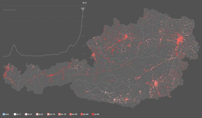 Vorschau Entwicklung der 7-Tages-Inzidenz zu Covid-19 in Österreichs Bezirken