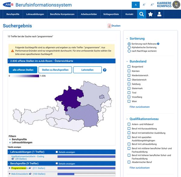 Vorschau Berufsinformationssystem des AMS Österreich (BIS)